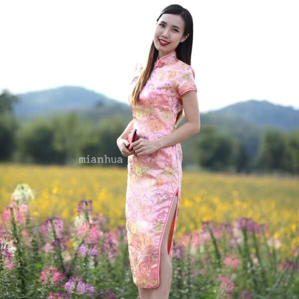 ชุดตรุษจีนผู้หญิง (ชุดกี่เพ้า) แบบยาว สีชมพูลายดอกโบตั๋น