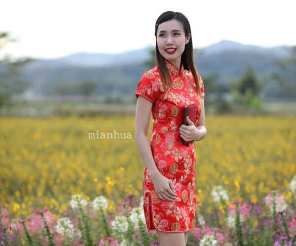 ชุดตรุษจีนผู้หญิง (ชุดกี่เพ้า) แบบสั้น สีแดง ลายดอกโบตั๋นคู่ซังฮี้