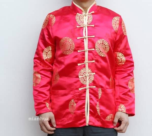 เสื้อตรุษจีนผู้ชาย แขนยาว สีแดง ลายมังกรคู่เหรียญซังฮี้ สวยใส่สบาย