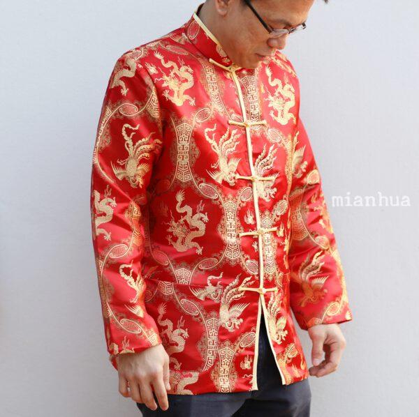 เสื้อตรุษจีนผู้ชาย แขนยาว สีแดงลายมังกร