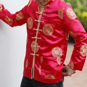 เสื้อตรุษจีนผู้ชาย แขนยาว สีแดง ลายมังกรคู่เหรียญซังฮี้