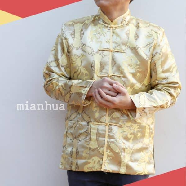 เสื้อตรุษจีนผู้ชาย แขนยาว สีทอง ลายมังกร