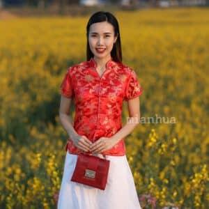 เสื้อตรุษจีนผู้หญิง (เสื้อกี่เพ้า) แขนสั้น คอน้ำเต้า สีแดง
