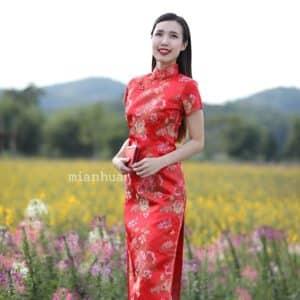 ชุดตรุษจีนผู้หญิง (ชุดกี่เพ้า) แบบยาว สีแดง ลายรวมดอกไม้มงคล