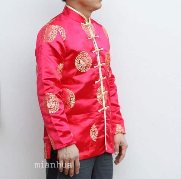 เสื้อตรุษจีนผู้ชาย แขนยาว สีแดง ลายมังกรคู่เหรียญซังฮี้ หล่อสุดๆ
