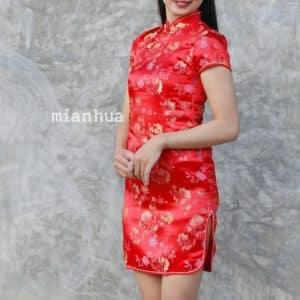 ชุดตรุษจีนผู้หญิง (ชุดกี่เพ้า) แบบสั้น สีแดง ลายดอกเหมย