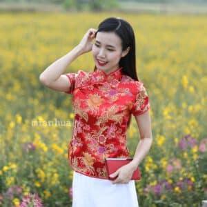 เสื้อตรุษจีนผู้หญิง (เสื้อกี่เพ้า) แขนสั้น สีแดง ลายดอกไม่มงคลจีน