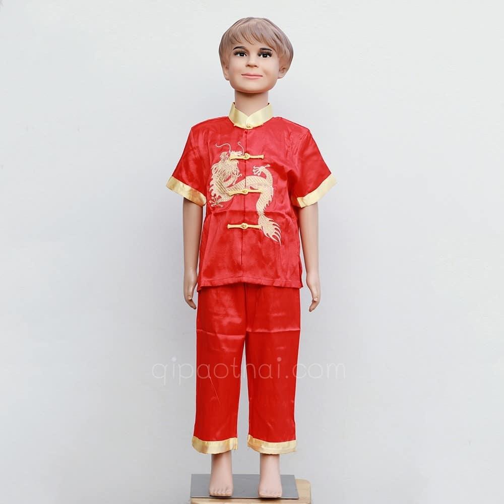 ชุดกี่เพ้าเด็ก ผู้ชาย ปักมังกร สีแดง