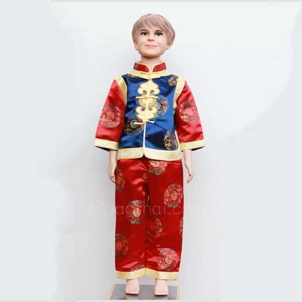 ชุดตรุษจีนเด็กผู้ชายสีน้ำเงิน-แดง ลายอู่ฝู เสื้อแขนยาว กางเกงขายาว