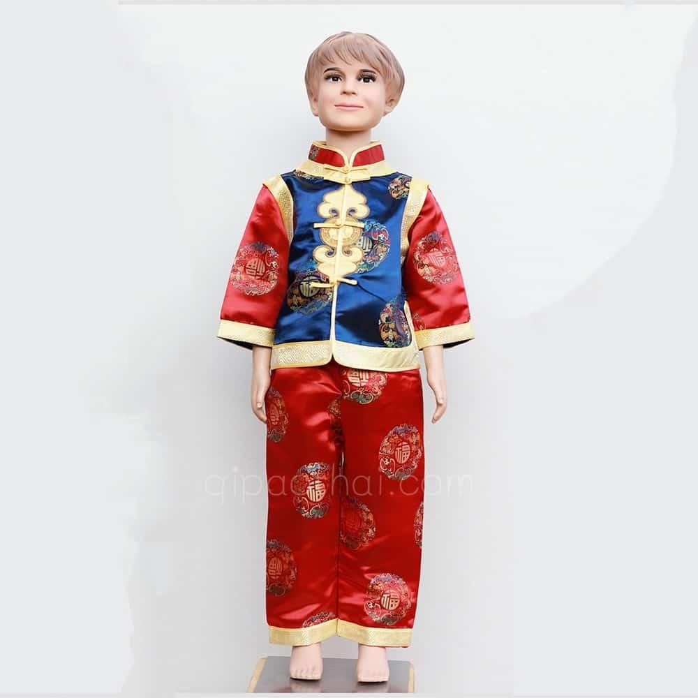 ชุดจีนเด็กผู้ชายสีน้ำเงิน-แดง ลายอู่ฝู เสื้อแขนยาว กางเกงขายาว