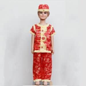 ชุดตรุษจีนเด็กผู้ชายสีแดง ลายมังกร เสื้อแขนสั้น กางเกงขายาว พร้อมหมวก