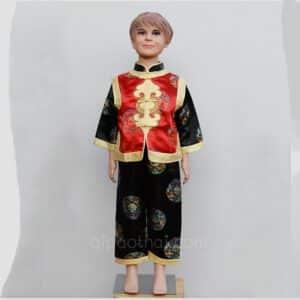 ชุดตรุษจีนเด็กผู้ชายสีแดง-ดำ ลายอู่ฝู เสื้อแขนยาว กางเกงขายาว