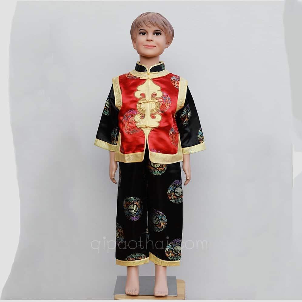 ชุดจีนเด็กผู้ชายสีแดง-ดำ ลายอู่ฝู เสื้อแขนยาว กางเกงขายาว