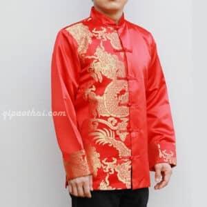 เสื้อตรุษจีนผู้ชาย แขนยาว สีแดง ลายมังกรสีทอง