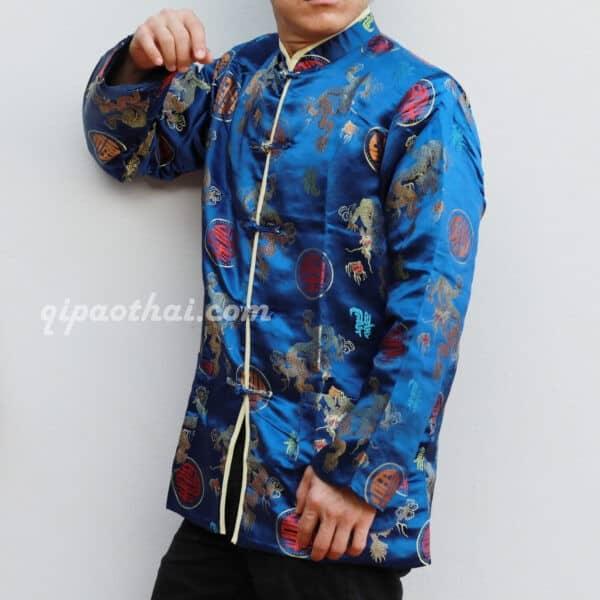 เสื้อตรุษจีนผู้ชาย แขนยาว สีน้ำเงิน ลายมังกรคู่เหรียญซังฮี้ เท่ห์สุดๆ