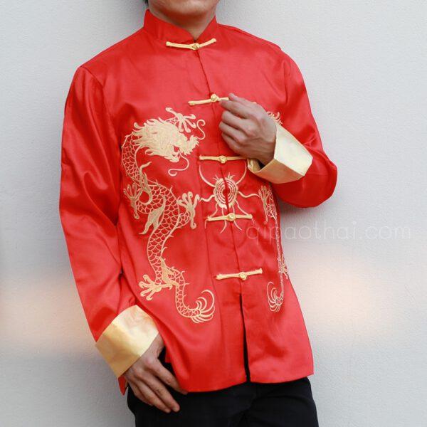 เสื้อตรุษจีนผู้ชายลายมังกร