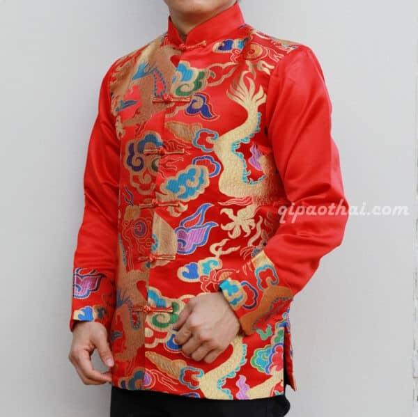 เสื้อตรุษจีนผู้ชาย แขนยาว สีแดง ลายมังกรสีทองพร้อมเมฆหลากสี