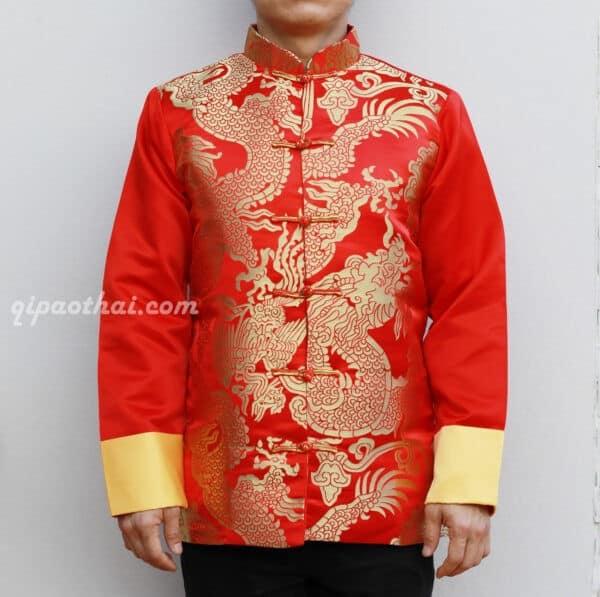 เสื้อตรุษจีนผู้ชาย แขนยาว สีแดง ลายมังกรสีทอง (เต็มตัวเสื้อ)