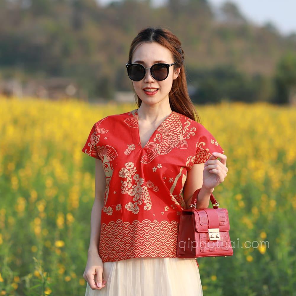 เสื้อตรุษจีน ผ้าฝ้ายพื้นเมือง ลายปลาคาร์ฟ