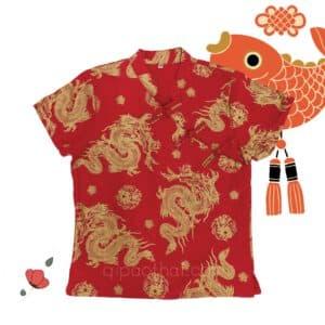 เสื้อตรุษจีนผู้หญิง (เสื้อกี่เพ้า) เนื้อผ้าฝ้าย ทรงคอจีนผ่าเฉียง สีแดง ลายมังกร