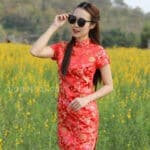 ชุดตรุษจีนผู้หญิง (ชุดกี่เพ้า) แบบสั้น สีแดง